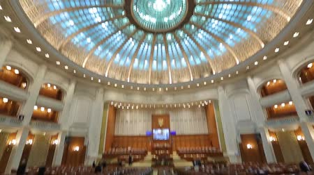 monumentális : View of the Romanian Parliament from the inside. Bucharest, Romania