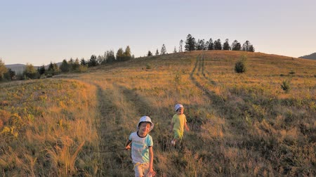 easily : Happy children playing on meadow field hill. Summer holidays background. Happy childhood background. Non-urban scene. Freedom conceptual view. Stock Footage