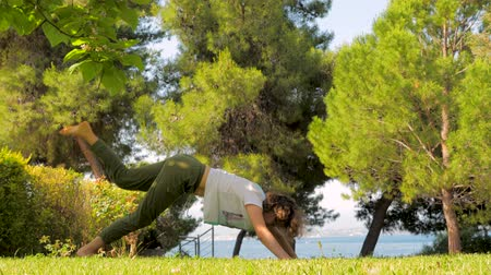 sustain : Young sporty mother doing yoga exercise with her little cute daughter in slow motion. Woman with child train in a green park. Helthy lifestyle family concept. Stock Footage