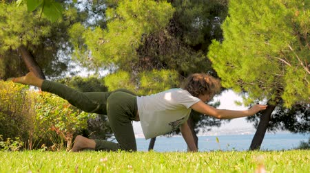 sustain : Female doing yoga pose. Morning exercises on front yard, backyard. Summer vacation near the sea. Villa near the sea. Strengthening body background.
