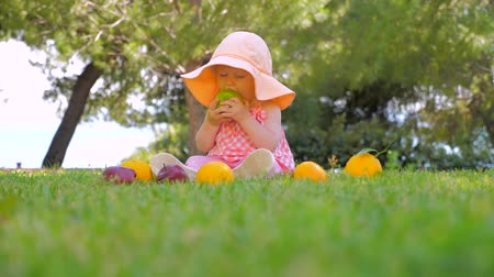 desenvolver : Natural fruits background. Kid eating organic fruits outdoor. Toddler playing with fresh fruits on green grass on sunny summer day. Baby on green backyard near see shore. Baby sitting on green grass