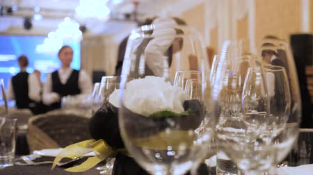 lavish : Catering service preparation. Service industry background. Table design of elite catering. Elegant enjoyable, especially in a way that involves great expense. Restaurant, resort, hotel service Stock Footage