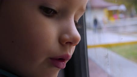 Child reflecting in the window, glass. Close-up shot of a kid looking out of the window in train. Traveling by train. The boy looks at running landscape. Spring, autumn time