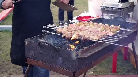 kebab : Cook grilling meat, vegetables on charcoal, street vendor selling food, festival Stock Footage