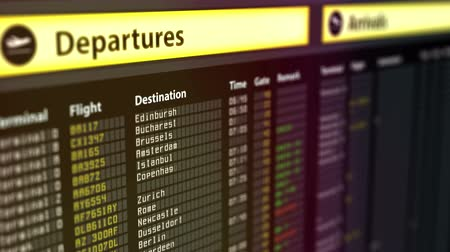 deska : Departures sign board with flight information, destination cities on timetable