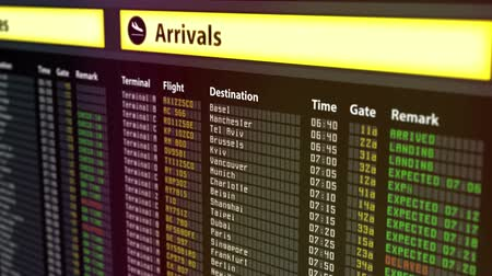 očekával : Important flight information displayed on airport arrivals and departures board