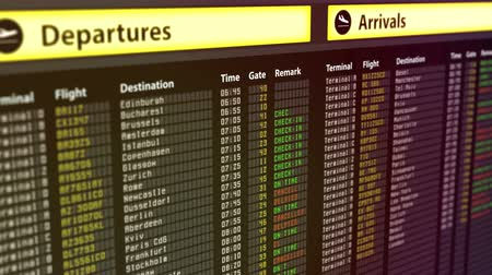 očekával : Departures arrivals timetable at airport, flights get canceled, security threat