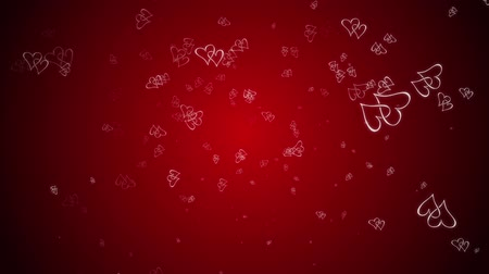 conectado : Hearts are falling against a red background.