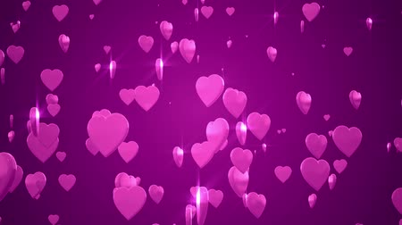 Shiny 3D hearts are rising against a pink background.