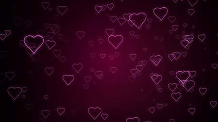 Hearts are falling against a dark pink background.