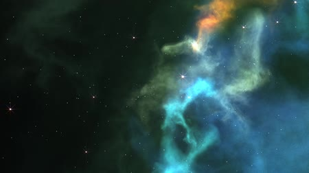 Slowly travelling through colorful nebula clouds. Wideo