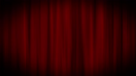 Red curtains are gently swaying. Looping