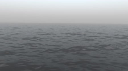 Floating in the calm ocean on a hazy day. Looping.