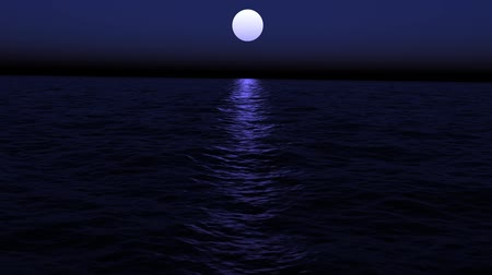 Floating in the calm ocean on a moonlit night. Looping.