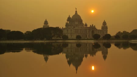 interest : Victoria Memorial in the evening, Kolkata, India time lapse. 4k footage video. Stock Footage