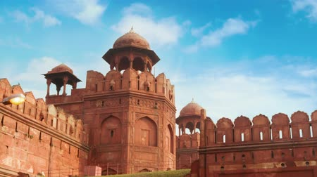 lâl : India travel tourism background - Red Fort (Lal Qila) Delhi - World Heritage Site. 4k footage video.