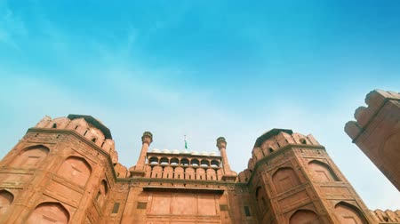 Дели : Architectural detail of Lal Qila - Red Fort in Delhi, India. 4k footage video.