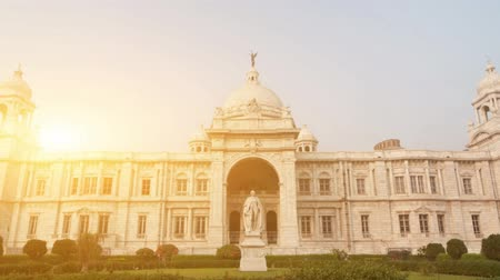 kolkata : Front garden view landmark building Victoria Memorial in Kolkata or Calcutta, India. 4k footage video. Stock Footage