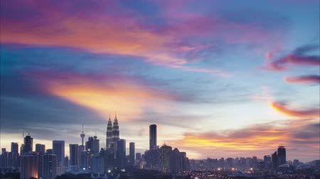 night scape : The capital of Malaysia, Kuala Lumpur city skyline sunset view. 4k footage video panning or zoom.
