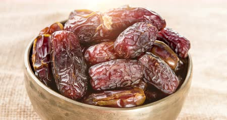 iftar : Pile of fresh dried date fruits, 4k footage video. Stock Footage