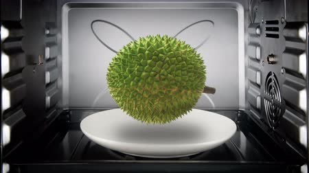 exotic dishes : Durian floating and rotate inside convection oven.
