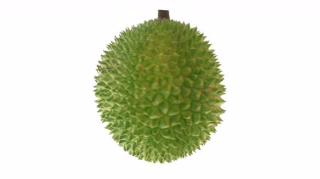 экзотичность : Durian turning around, isolated on white background.