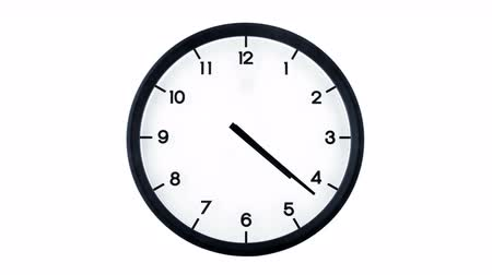 kleszcz : 4k timelapse of a classic analog clock moving fast isolated on white background. Time passing twelve hours. Starts ticking at 12 and ends at 12.