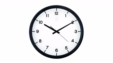 clockface : Classic analog clock moving isolated on white background. Time passing 1 minute, starting at ten ten.