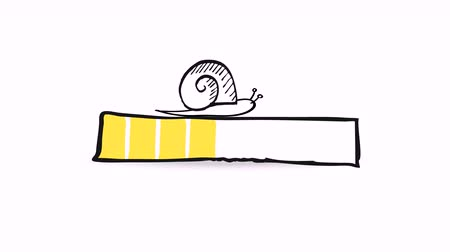 Uploading, downloading, loading status bar graphic animation with a doodle snail