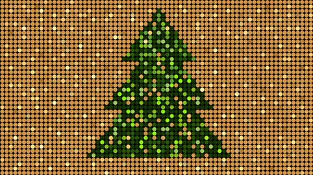Christmas golden glitter pattern with christmas tree, seamless loop background, flash 2D animation Stock mozgókép