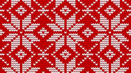 Christmas norwegian knitwear pattern, seamless loop background, flash 2D animation Stock mozgókép