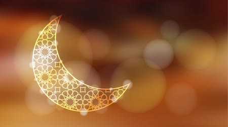 Glittering ornamental moon with bokeh effect, loopable Ramadan graphic animation