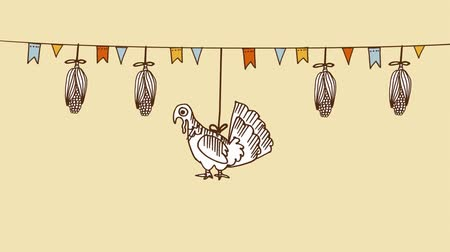 Thanksgiving day background with hand drawn corn, turkey and party flags, seamless loop background, flash 2D animation Stock mozgókép