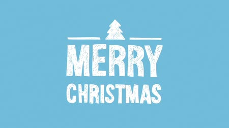 Merry christmas, hand written animated chalk text with christmas tree, seamless loop, flash 2D animation