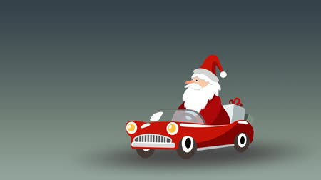 Cute animated Santa Claus driving retro sports car with gifts, seamless loop, flash 2D animation Stock mozgókép