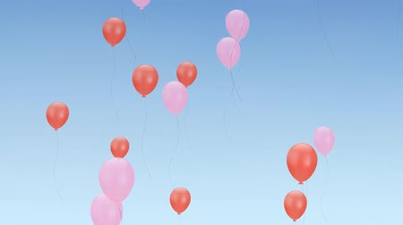 Flying pink and red party balloons in blue sky. Celebration, anniversary, birthday concept. HD animation. Stock mozgókép