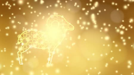 Ornamental illuminated sheep with falling lights, festive golden glittering background. Animation for muslim Eid ul adha celebration. HD footage Stock mozgókép