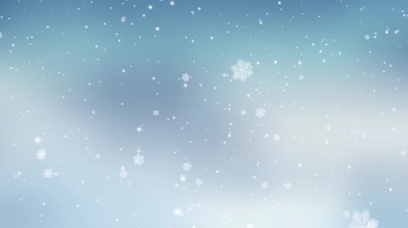 Winter blurred Christmas background with falling snow. Slow motion snowflake 3D animation, full HD. Stock mozgókép