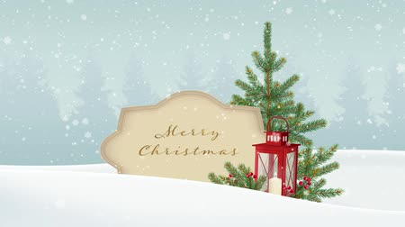 Vintage Christmas background. White winter landscape with forest, paper banner, falling snow. Festive decoration with fir Christmas tree, red lantern and berries. HD animation.