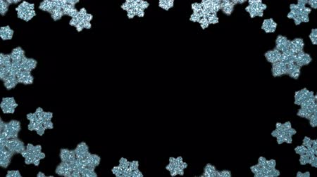 Festive frame made of glittering snowflake lights. Winter Christmas background, web border. HD animation, seamless looping.