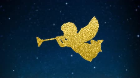 Christmas glittering silhouette of angels with trumpets made of golden lights. Starry night sky with glowing stars. Festive holiday background. HD animation, seamless looping.