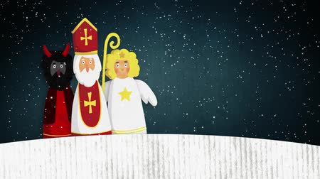 Walking St. Nicholas, devil and flying angel. European Christmas tradition. Cute hand drawn watercolor artistic animation. Winter footage with falling snow. Stock mozgókép