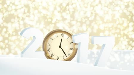 Happy new year 2017 Abstract motion blur background with falling golden bokeh lights, numbers and old watch in snow. Passing time, count down concept. Glittering festive HD animation. Stock mozgókép