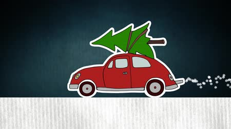 Old red car carrying Christmas tree and emitting snowflakes. HD animation.