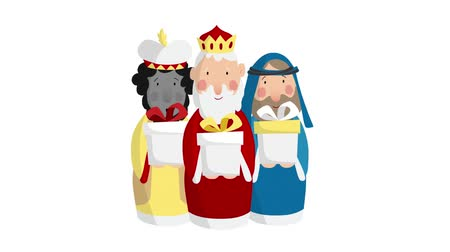 Three magi bringing gifts. Biblical kings Caspar, Melchior and Balthazar. Christmas loopable HD animation. Stock mozgókép