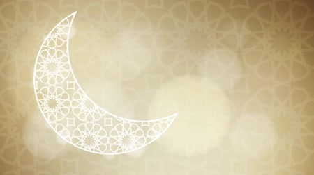 Ornamental half moon with glittering bokeh lights on the golden background with the traditional Arabic pattern. Loopable Ramadan graphic animation. Stock mozgókép
