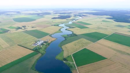 pasture land : beautiful summer river landscape. Aerial view