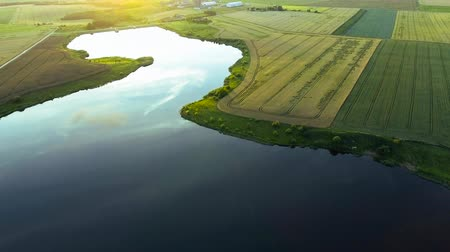 rzeka : beautiful summer river landscape. Aerial view