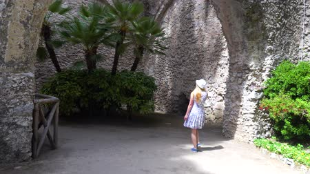amalfitana : young woman walking in Ravello at Italy Stock Footage