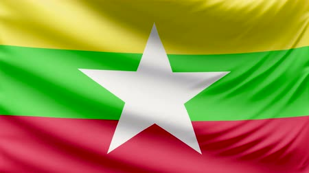 all european flags : Realistic beautiful Myanmar flag 4k